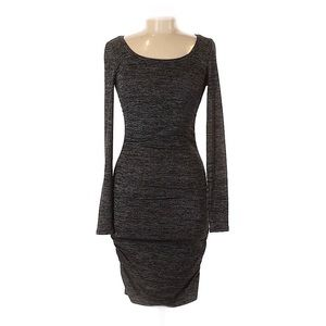 LEITH Black & Grey Space Dye Ruched Dress